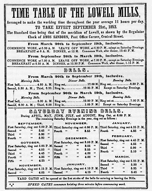 timetable of lowell mills